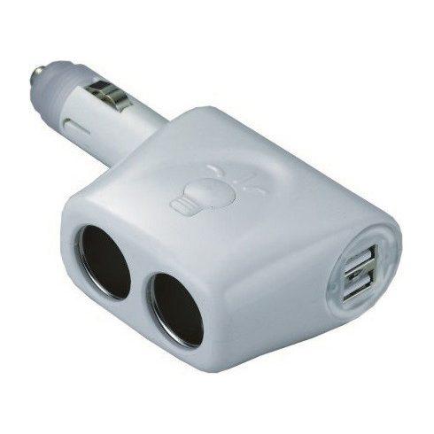 Szivargyújtó dupla USB vel, 2-es elosztó aljzat EVA