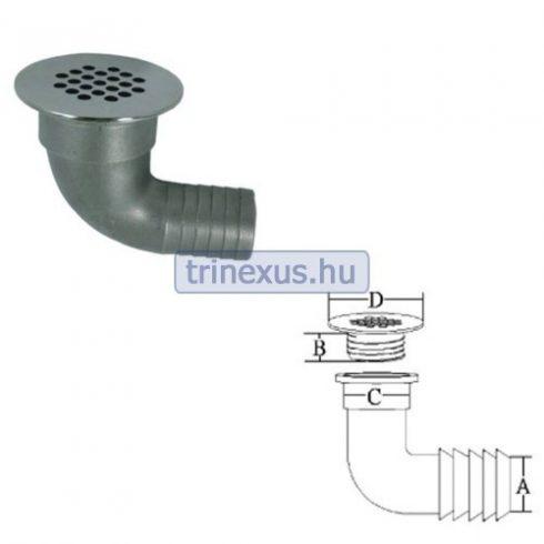 Víz levezető acél 90 fok 39 mm EVA