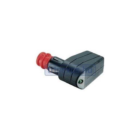 Szivargyújtó csatlakozó apa 90 fok LED, biztosíték LIN